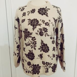 Black and cream floral sweater size S